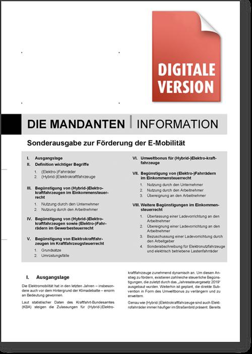 Mandanten-Info Sonderausgabe E-Mobilität digital ohne Eindruck