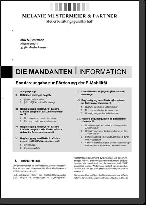 Mandanten-Info Sonderausgabe E-Mobilität mit Eindruck