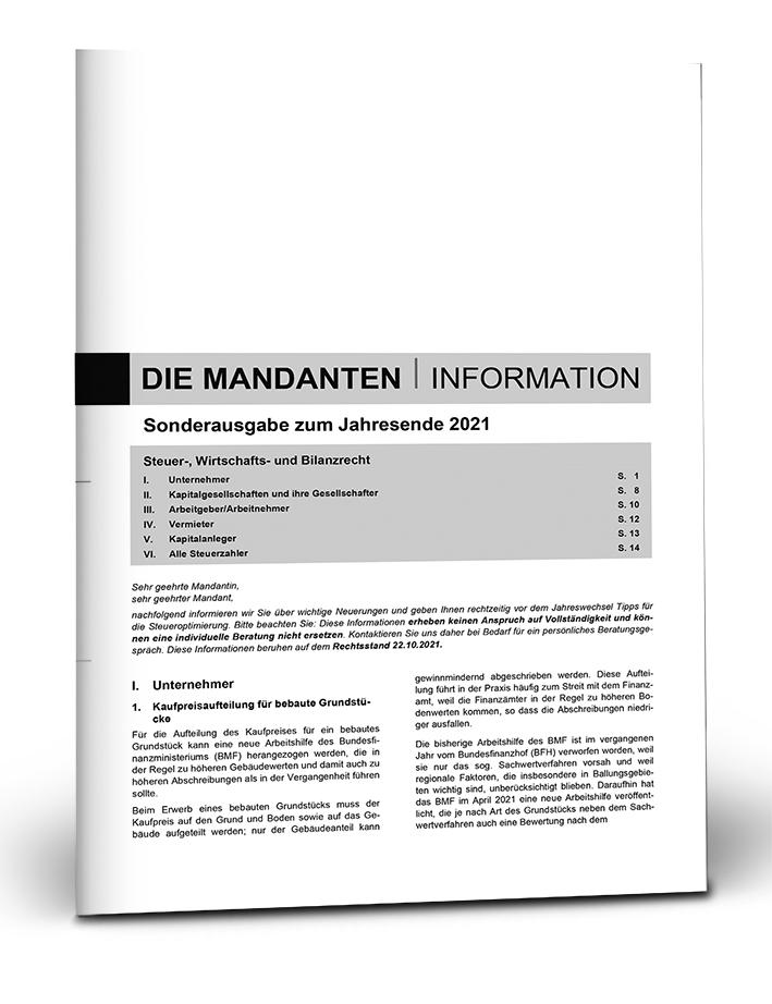 Mandanten-Information zum Jahresende 2021 mit Eindruck